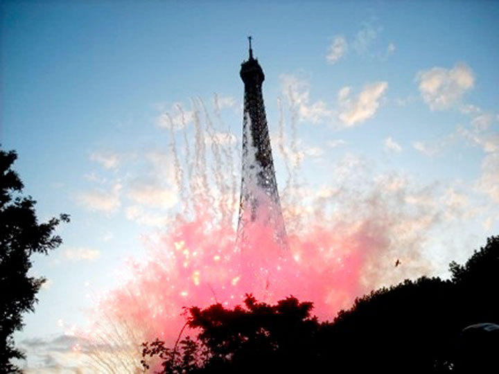 The Eiffel Tower on fire! But not really; they're just