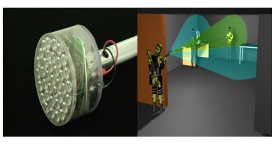 An example of the LED Incapacitator is shown on the left, with the LED lights shown. Behind the LED lights are microprocessors and other electrical assembly that cause the lights to flash in a specified way. On the right depicts a hypothetical scenario of its use. (credit: Courtesy of the Department of Homeland Security)
