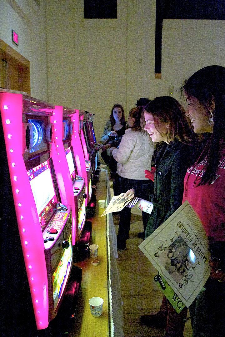Students try their luck at the casino set up in Rangos Hall during the Winter Gala (credit: Jonathan Carreon/Photo Staff)
