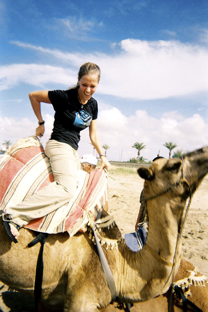 The author rides a camel while in Morocco. (credit: Courtesy of Stephanie Golfein)