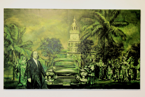 "Pedro Alvarez's ""One Hundred from The Romantic Dollarship Series"" combines images from Cuba with those found on United States dollar bills.  (credit: Alexandre Kaspar 