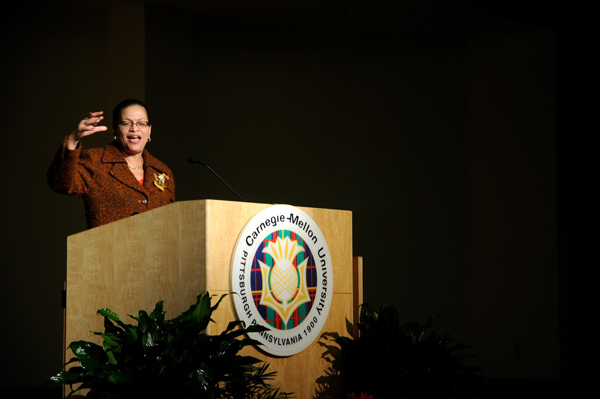 Pictured above is Julianne Malveaux, the MLK day keynote speaker. (credit: Marcy Held/)