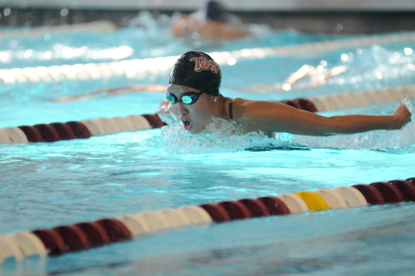 Junior Jen Sung placed third in the 200-yard butterfly last Saturday against SUNY Geneseo and Westminster College. (credit: Celia Ludwinski/Managing Editor)