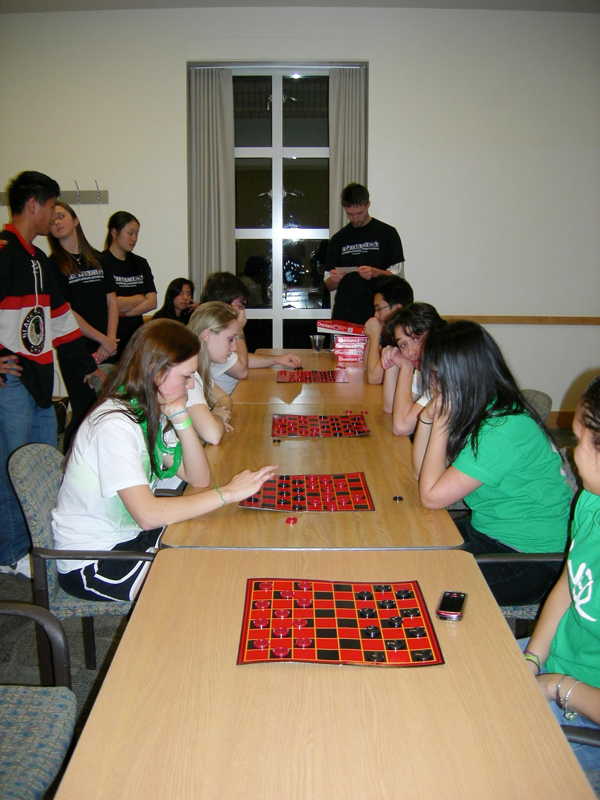 Tartan Olympics participants compete in a game of checkers. (credit: Courtesy of Josh Centor)