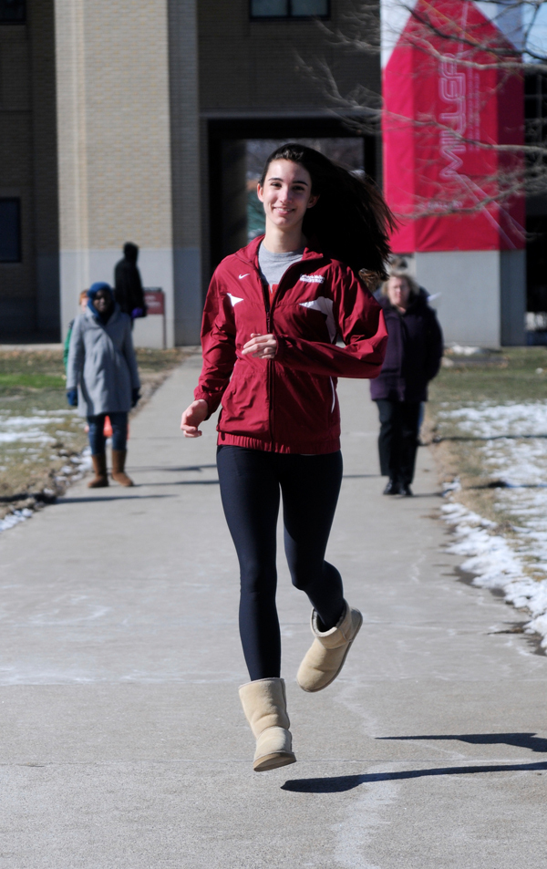 Guevel is on the move as she balances track and academics. (credit: Tommy Hofman/Photo Editor)