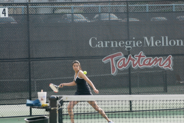 Senior Jennifer Chui focuses as she hits a forehand. (credit: File Photo)