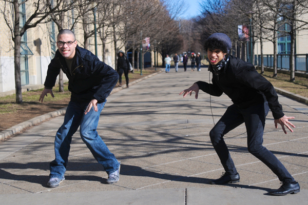 """Sean Hoffman, left, and Joe Reilly, right, two Carnegie Mellon first-years, demonstrate the signature creepy pose from their YouTube video, """"What is the Creep?"""" (credit: Thomas Hofman 