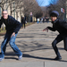 """Sean Hoffman, left, and Joe Reilly, right, two Carnegie Mellon first-years, demonstrate the signature creepy pose from their YouTube video, """"What is the Creep?"""""""