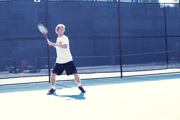 Sophomore Duke Miller sets up for a forehand. (credit: File Photo)