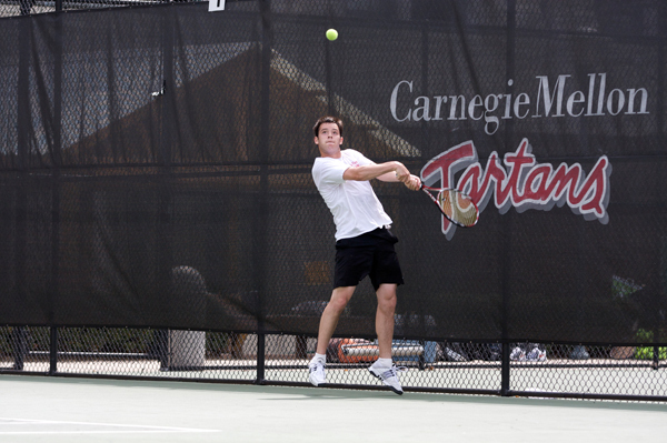 Senior Alex Nemerov hits a backhand during a match. (credit: File Photo)