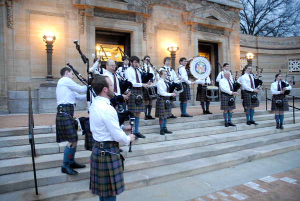 The Kiltie Pipe Band greeted attendees of the Collage Concert last Friday as its members practiced before the concert on the front steps of Soldiers and Sailors Memorial Hall. (credit: Nicole Hamilton | Comics Editor)