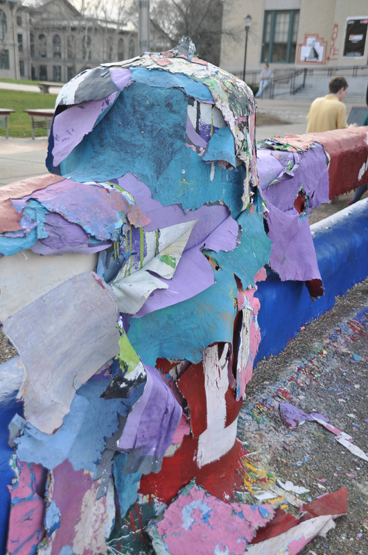 The damage to the Fence extended across one column and two sections.  (credit: Alan Vangpat/Photo Staff)