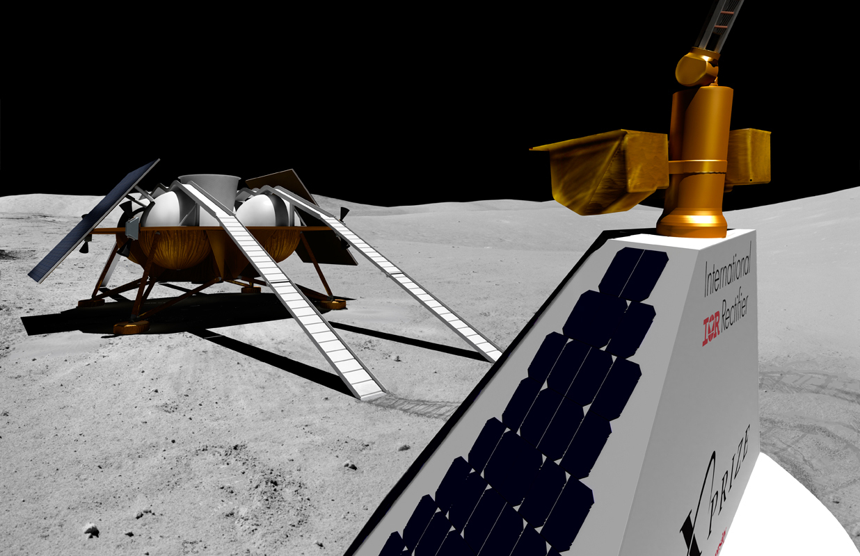 Red Whittaker and a team of engineers are participating in the Google Challenge, building a robot that is anticipated to land on the moon. Shown above is an artist's depiction of the various components of the robot on the surface of the moon.  (credit: Courtesy of Astrobotic Technology)