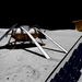 Red Whittaker and a team of engineers are participating in the Google Challenge, building a robot that is anticipated to land on the moon. Shown above is an artist's depiction of the various components of the robot on the surface of the moon.