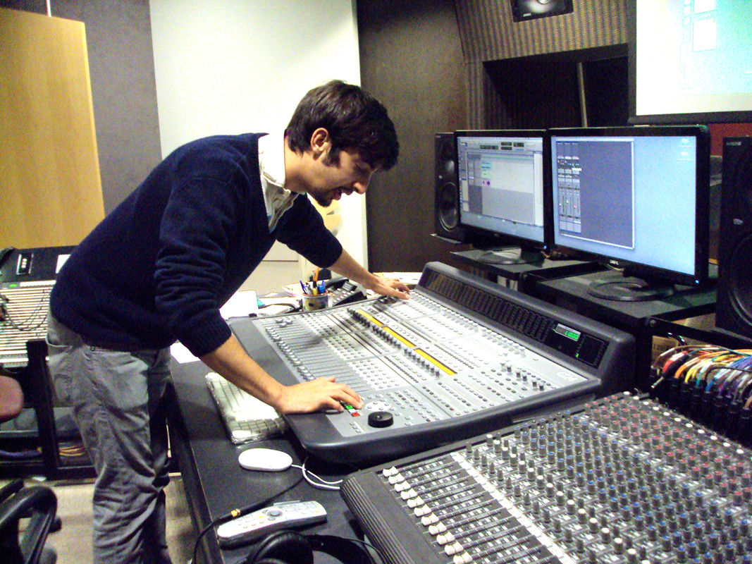 David Grabowski works on the music for the first episode in the studio. (credit: Courtesy of Yulin Kuang)