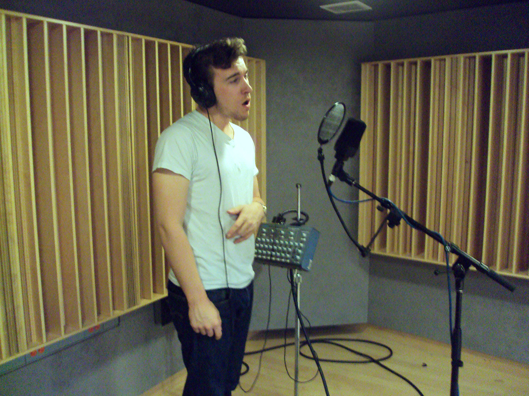 Lachlan McKinney records a song in the studio for the first episode. (credit: Courtesy of Yulin Kuang)