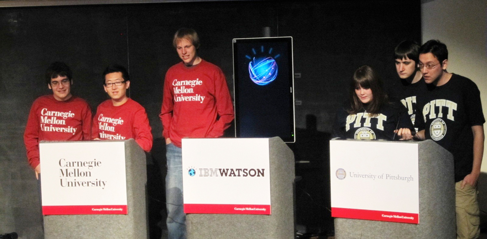 Students from Carnegie Mellon and the University of Pittsburgh compete against Watson in a Jeopardy!-like demonstration held in the University Center on Wednesday, March 30. (credit: Daniel Tkacik/Acting SciTech Editor)