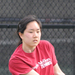 Junior Laura Chen hits a backhand during her doubles match against the University of Pittsburgh.