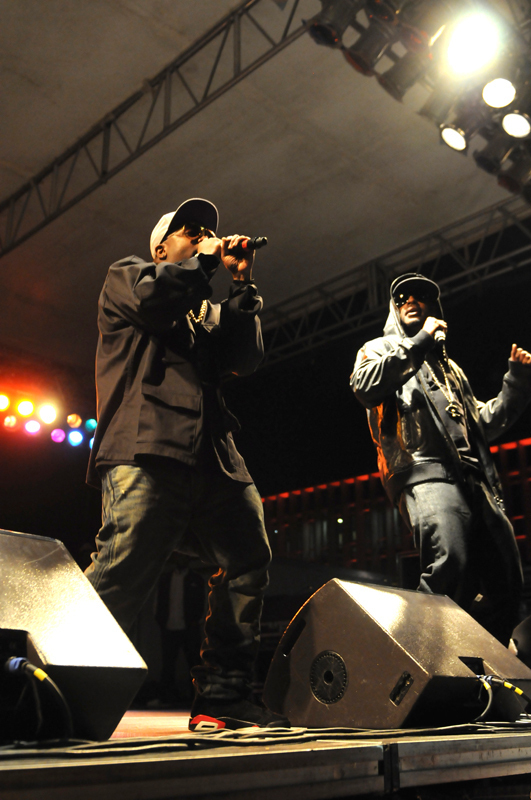 Big Boi, pictured right, played a mix of OutKast songs and songs from his solo albums, and invited members of the crowd to come up on stage to dance with him. (credit: Courtesy of Guillermo Gomez)