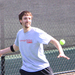 Senior Bobby MacTaggart lines up for a forehand during a home match. MacTaggart and senior Alex