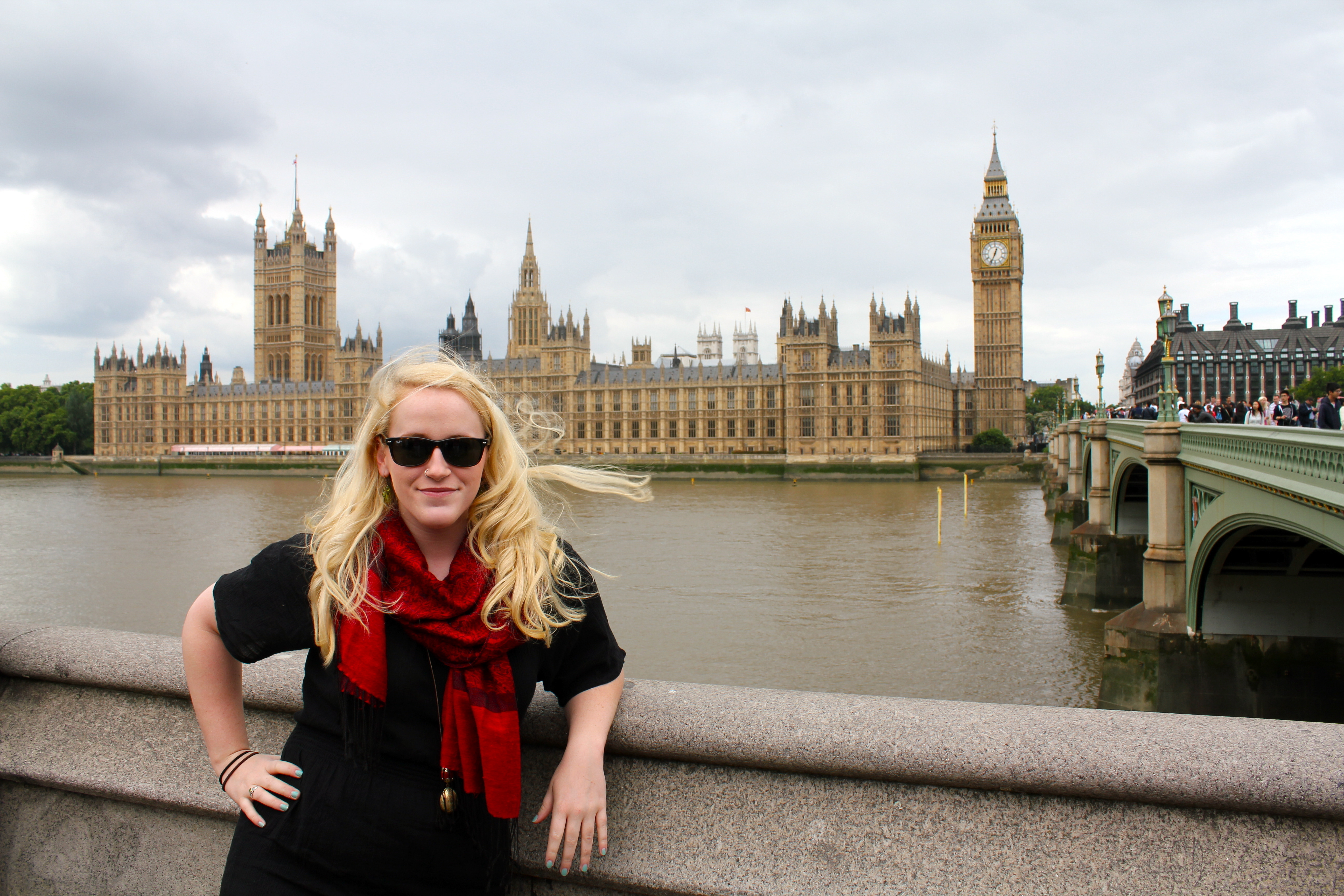 Meela in front of British Parliament. (credit: Meela Dudley | Publisher)