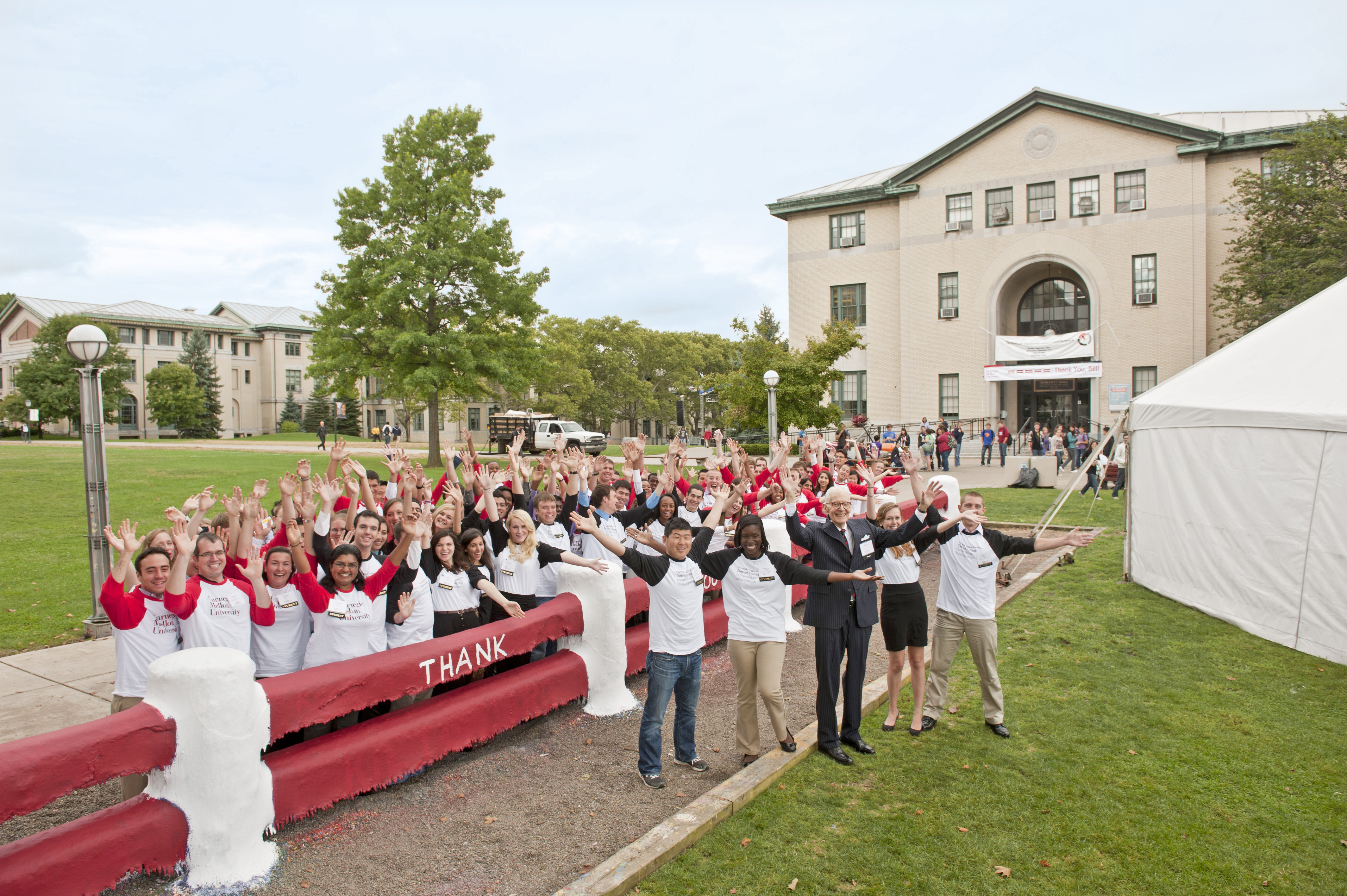 Bill Dietrich poses with student leaders by the Fence after the ceremony announcing his donation. (credit: Courtesy of Carnegie Mellon University)