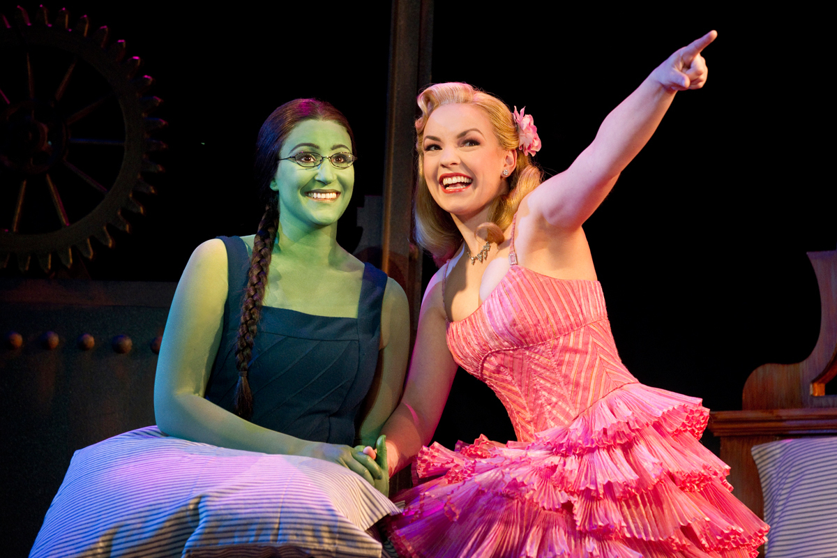 The relationship between Elphaba (Anne Brummel) and Glinda (Natalie Daradich) is the driving force behind much of _Wicked_'s appeal. (credit: Courtesy of Joan Marcus)