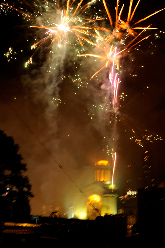 Carnegie Mellon ended Wednesday's day of celebrations with a fireworks show on the Mall. (credit: Courtesy of Guillermo Gomez)