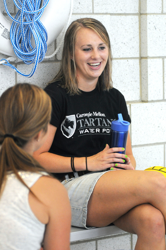McKendry discusses her experiences on the water polo team with The Tartan. McKendry is a senior and has been involved with water polo since co-founding the team in the spring of 2009. (credit: Celia Ludwinski/Operations Manager)