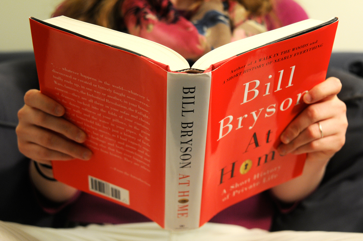In _At Home_, Bryson tells the history behind every room of his house. (credit: Celia Ludwinski/Operations Manager)