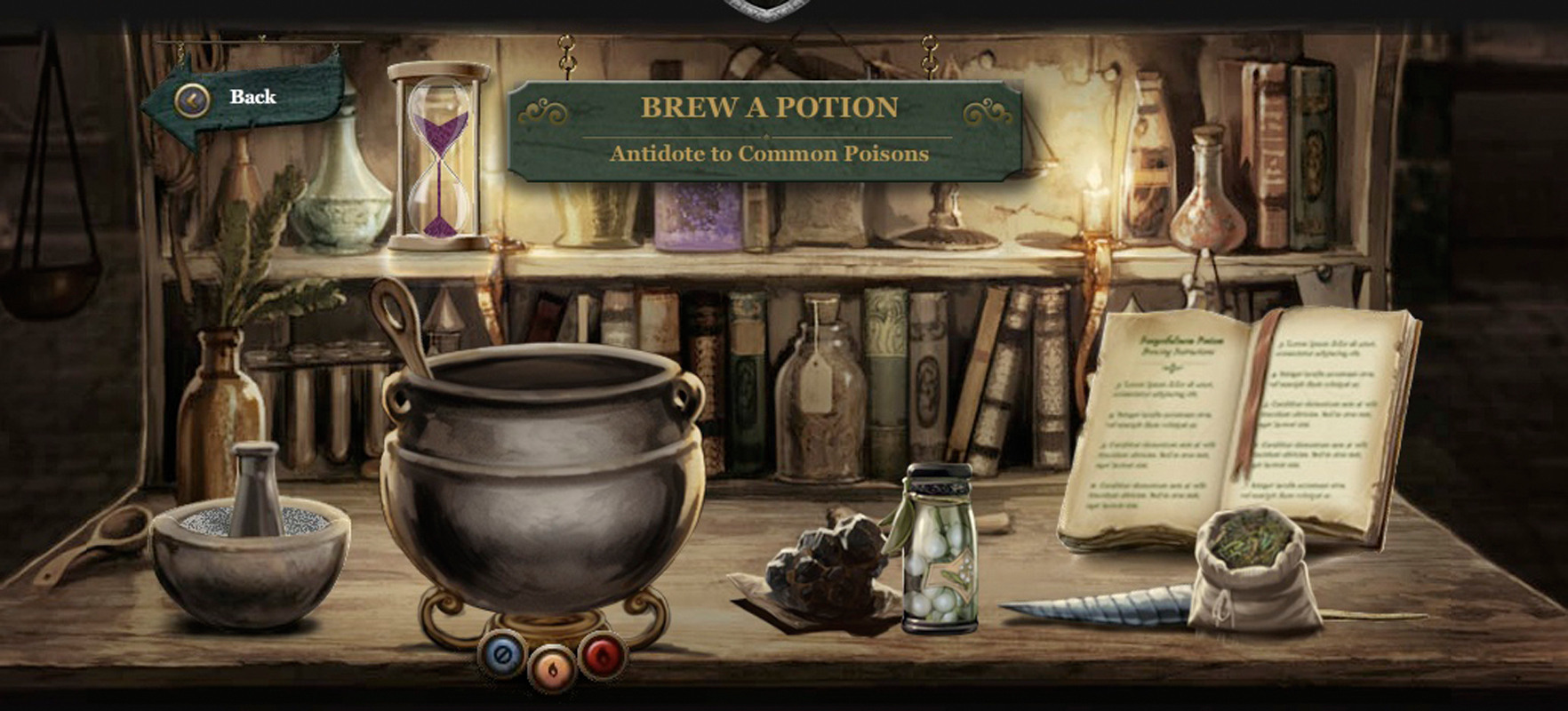 In Pottermore, users can brew potions as a way of earning house points. Users can also cast spells and duel each other in order to help their house win the House Cup. (credit: Courtesy of Sony)