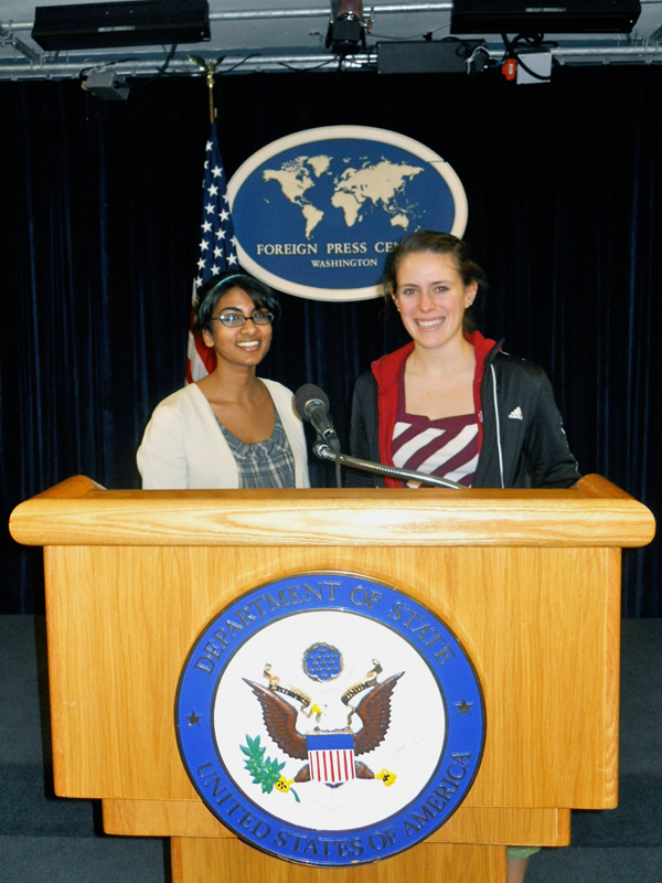 Easterwood and Srujana Penumetcha, both seniors in H&SS, pose at the Foreign Press Center in Washington, D.C.  (credit: Courtesy of Carmen Easterwood)