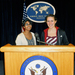 Easterwood and Srujana Penumetcha, both seniors in H&SS, pose at the Foreign Press Center in Washington, D.C.
