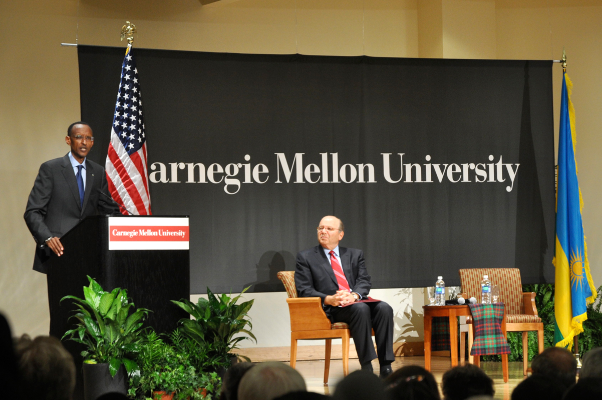 Kagame introduces the new partnership between Rwanda and Carnegie Mellon at Friday's ceremony. (credit: Audrey Alpizar/Photo Staff)