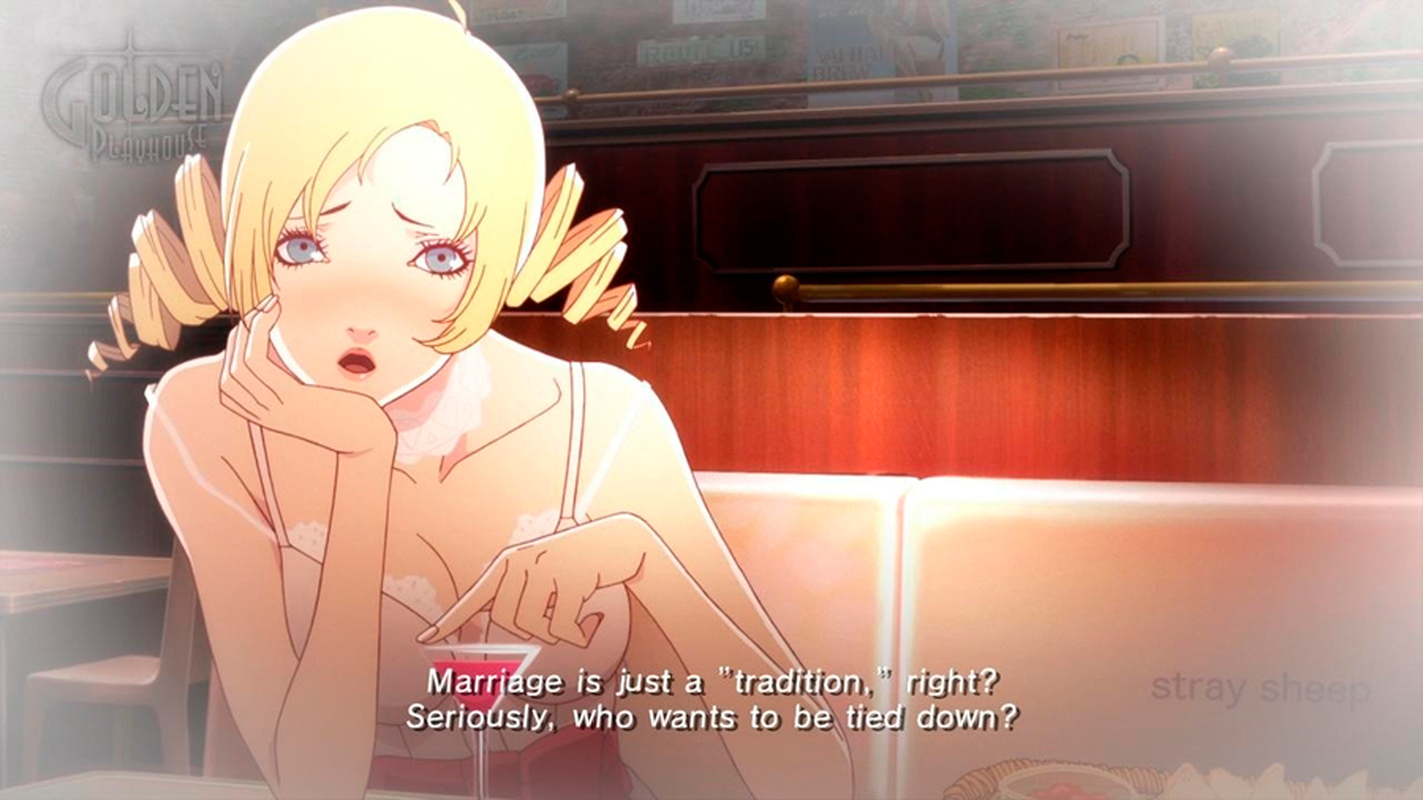 Catherine, a blonde bombshell, forces the main character to confront his own life goals. (credit: Courtesy of Atlus)