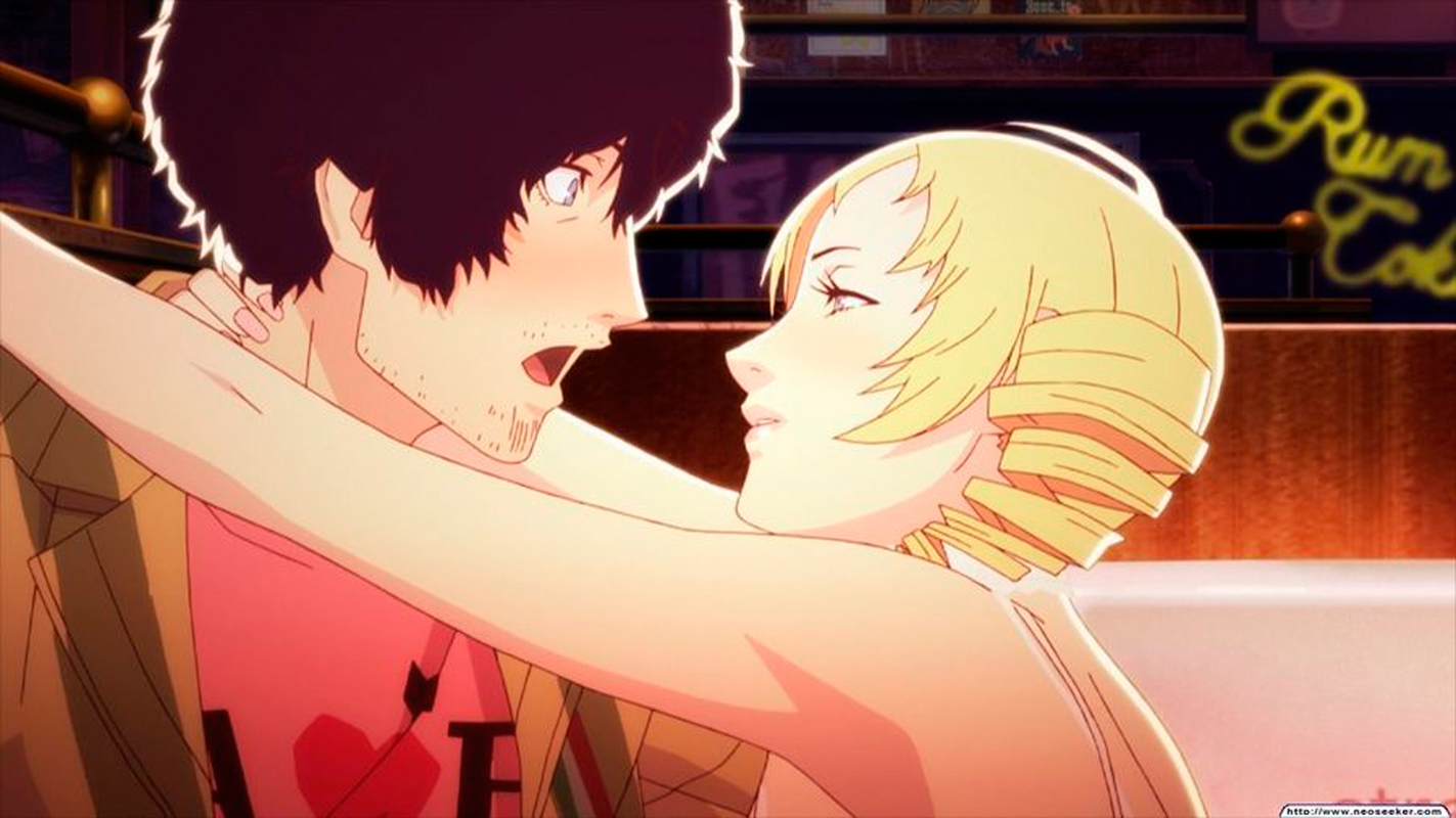 The player makes social choices on Vincent's behalf that ultimately determine whether he will end up with Katherine or Catherine. (credit: Courtesy of Atlus)