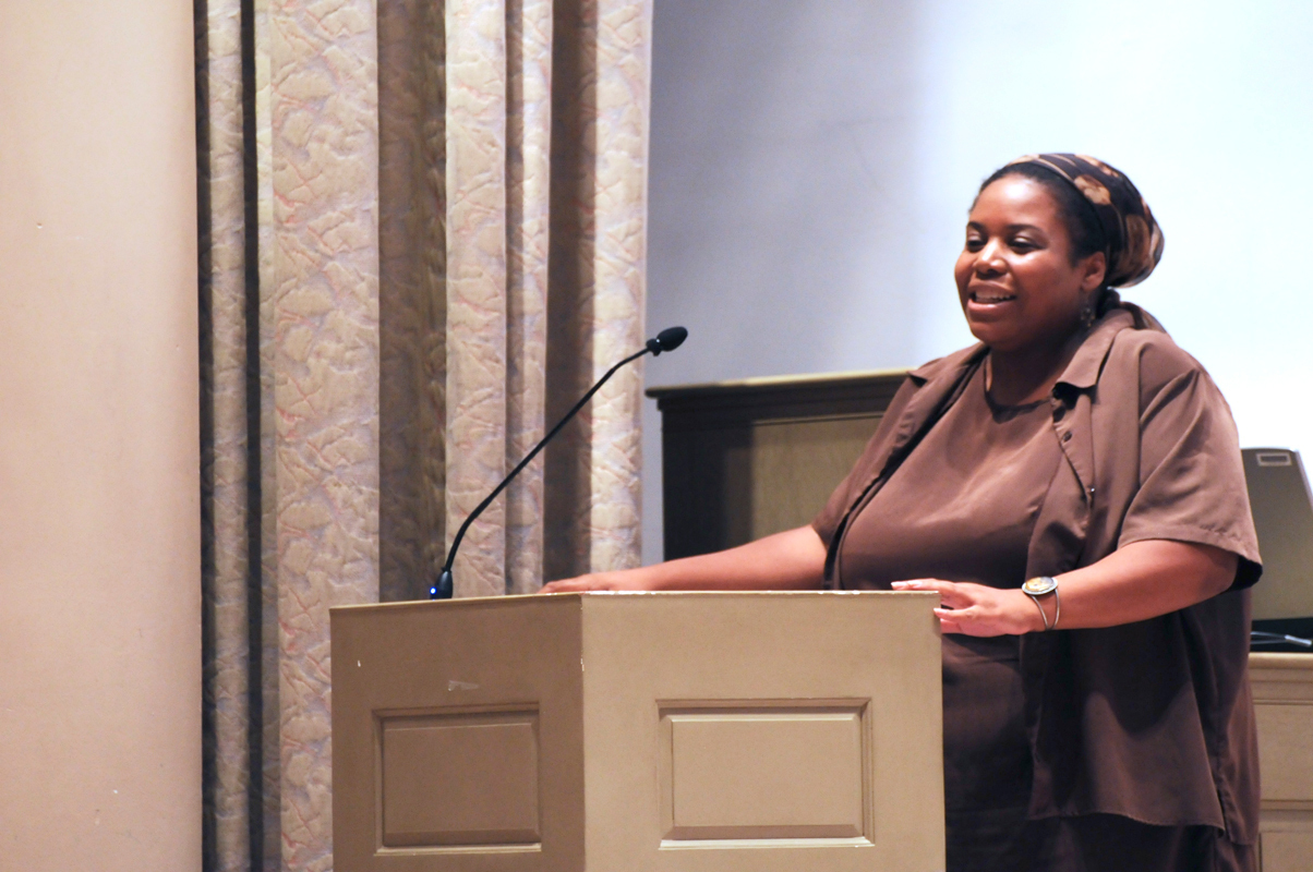 M. Shernell Smith reflects on Gandhi's legacy at last Sunday's events. (credit: Thomas Hofman/Photo Editor)