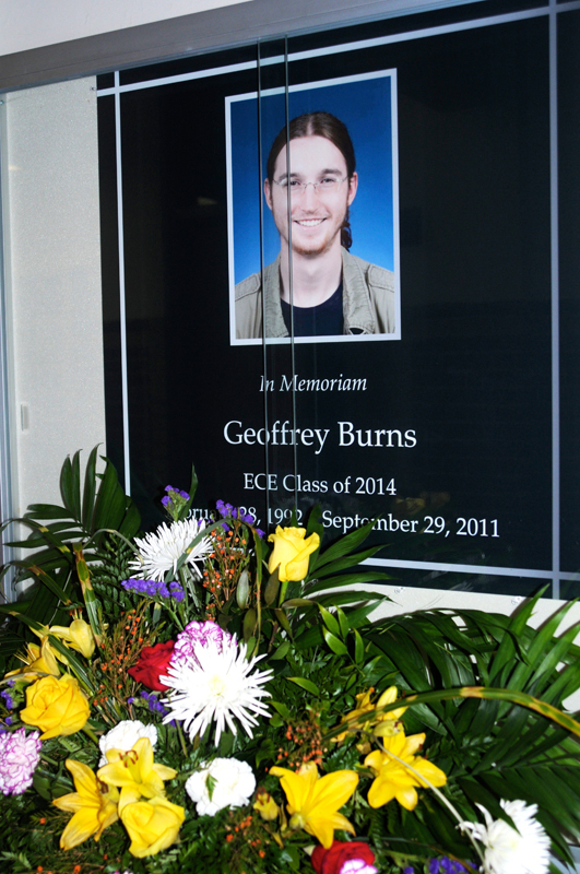 A memorial for Geoffrey Burns was erected in Hamerschlag Hall. (credit: Thomas Hofman/Photo Editor)