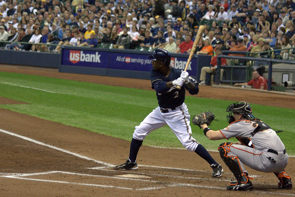 Nyjer Morgan of the Milwaukee Brewers is up at bat. (credit: Courtesy of stevethephotographer on Flickr )