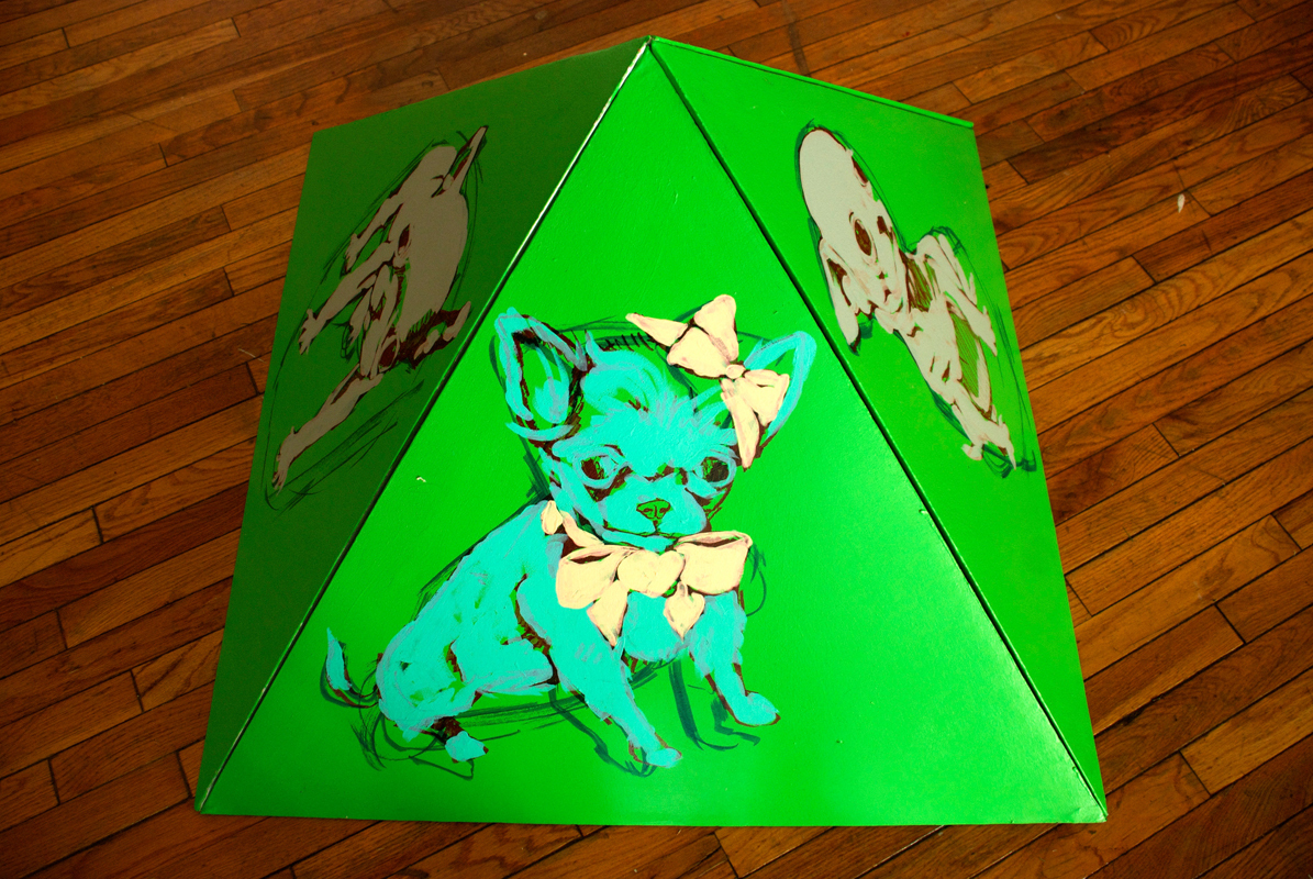 Wobb created 3-D paintings by constructing pyramid-shaped canvasses by hand. (credit: Thomas Hofman/Photo Editor)