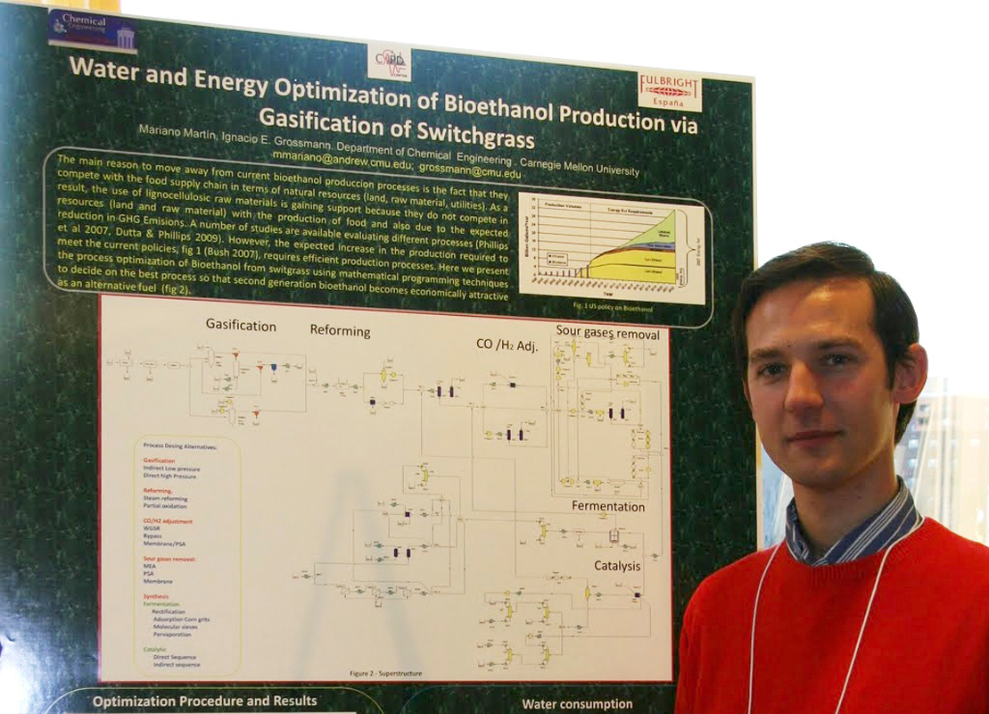 Mariano Martin, a post-doctoral researcher in the department of chemical engineering, recently presented his research on converting switchgrass to biodiesel at a Center for Advanced Process Decision-making symposium. (credit: Courtesy of Mariano Martin)