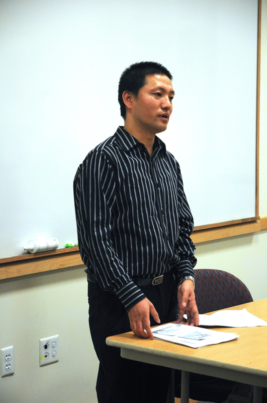 Ashok Gurung, a Bhutanese refugee, talks to students about his life. (credit: Celia Ludwinski/Operations Manager)