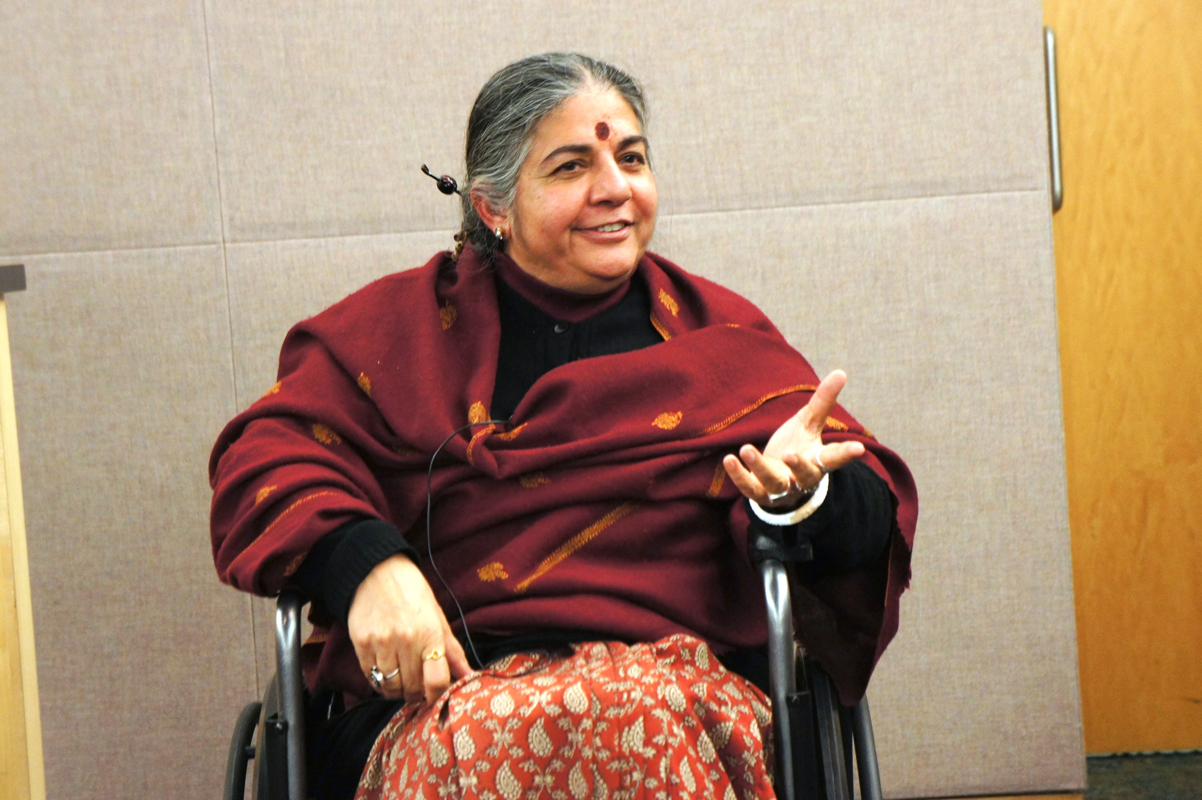 Dr. Vandana Shiva, winner of the Thomas Merton Award, said that companies should not be able to patent genetically altered seeds. (credit: Kechun(Coco) Mao/)
