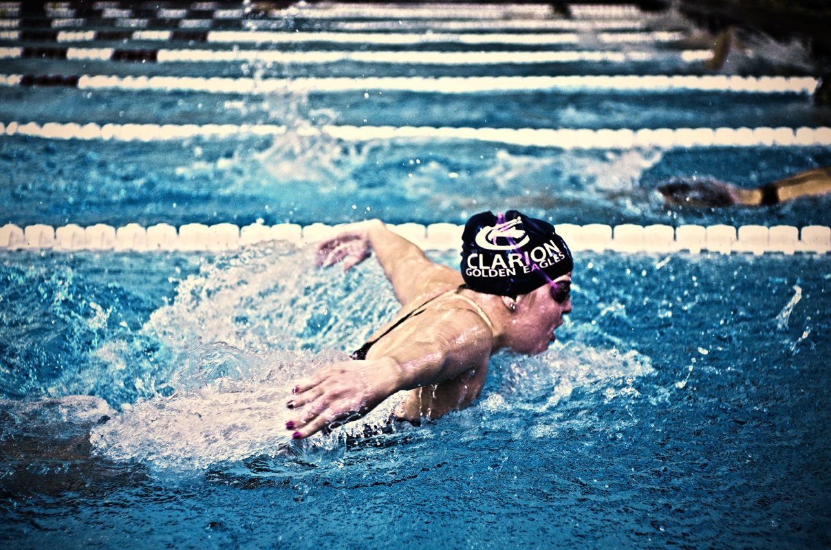 Both the men's and women's swim teams host Clarion University in the University Center pool. (credit: Sky Gao/)