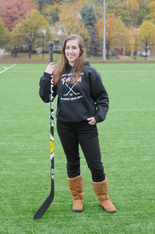 Bryn Loeffler is the only woman on the CMU club hockey team. (credit: Thomas Hofman/Photo Editor)