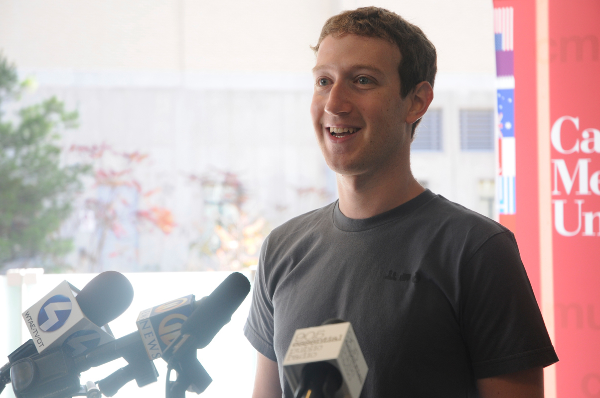 Mark Zuckerberg answers questions at a press meeting prior to his recruitment talk on Tuesday. (credit: Celia Ludwinski/Operations Manager)