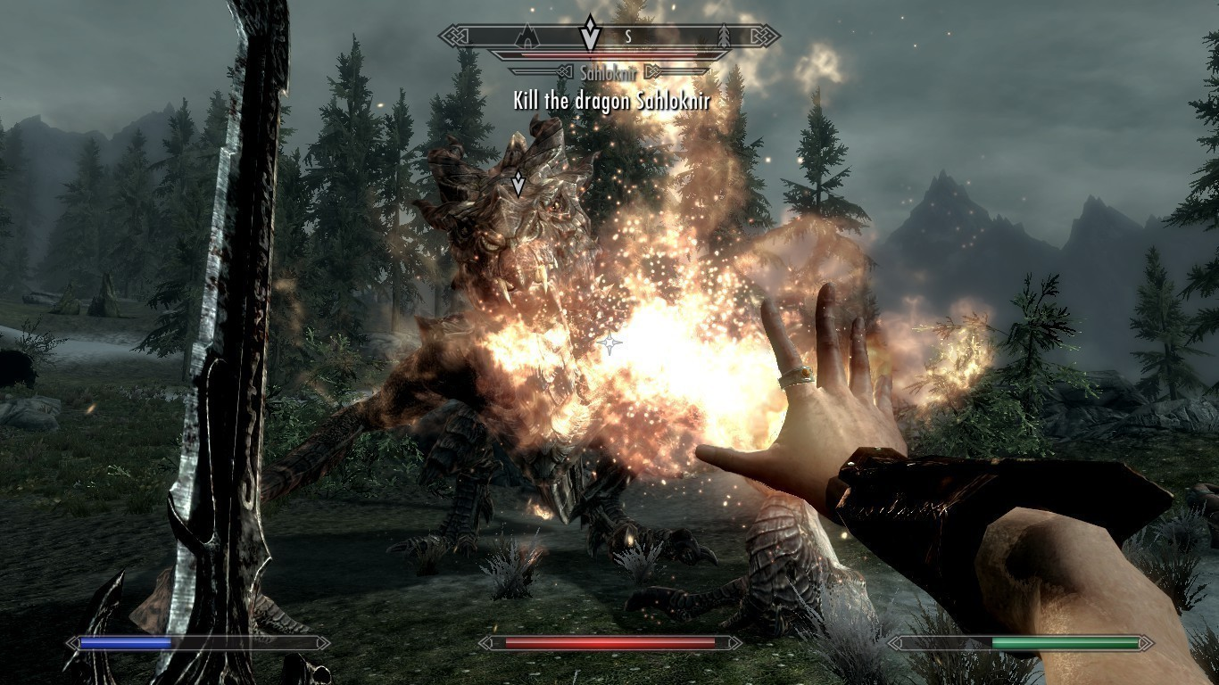 The player will encounter epic dragon battles both within the main storyline and in random encounters throughout Skyrim. (credit: Katie Chironis/Copy Manager)