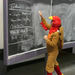 Professor Tim Flaherty teaches his Matrices and Linear Tranformations class in a turkey suit after winning a contest for a charity.