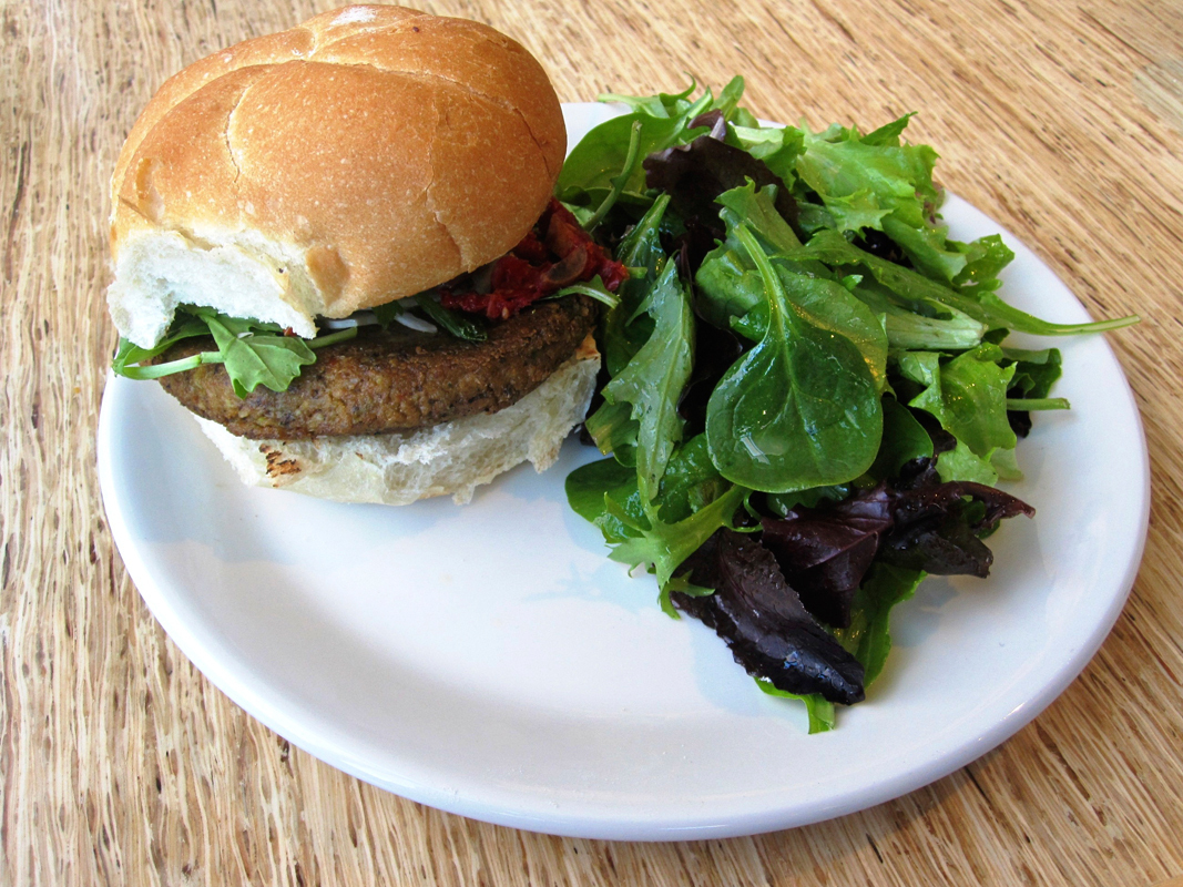 "The ""farm stand vegetable burger"" was disappointing. (credit: Daniel Tkacik/SciTech Editor)"