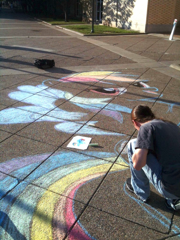 Carnegie Mellon bronies draw My Little Ponies in chalk around campus. (credit: Courtesy of CMU Bronies)